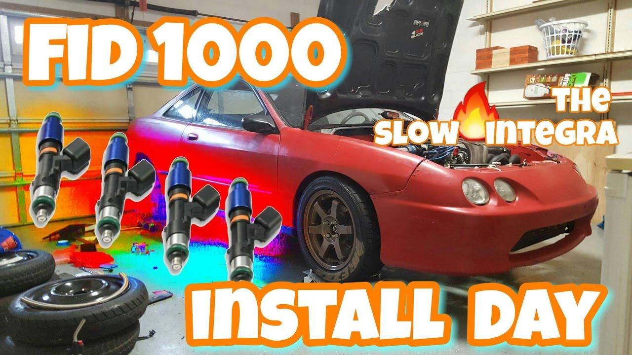 Slow Integras new Injectors!! FID Injectors Install video