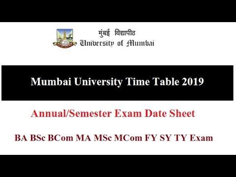 Mumbai University Time Table 2019 || Annual/Semester || BA BSc BCom MA MSc MCom