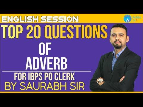 IBPS PO/CLERK   Top 20 Questions Of Adverb   English   Saurabh Sir   5 P.M.