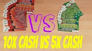 10x Cash Vs 5x Cash Scratchcard Scratch Off