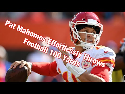 50ebfbfa1 Pat Mahomes Effortlessly Throws Football 100 Yards - YouTube