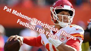 Pat Mahomes Effortlessly Throws Football 100 Yards thumbnail