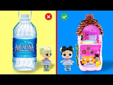 DIY Miniature LOL Surprise DOLLHOUSE in a Pure Water Bottle
