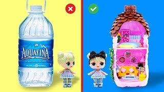 DIY Miniature LOL Surprise DOLLHOUSE in a Pure Water Bottle
