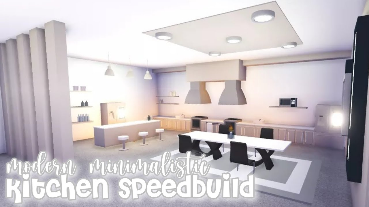 Modern Minimalistic Futuristic House Kitchen Speed Build Roblox Adopt Me Youtube