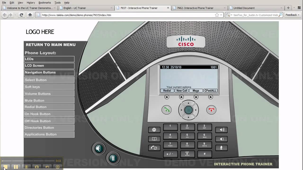 Cisco 7937 navigation buttons Phone Training