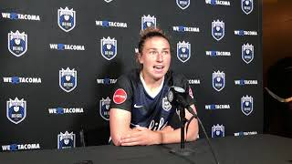 Reign Morgan Andrews on playing goal keeper