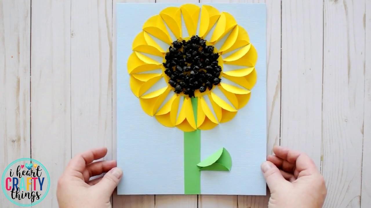 Folded Paper Sunflower Craft  sc 1 st  YouTube & Folded Paper Sunflower Craft - YouTube