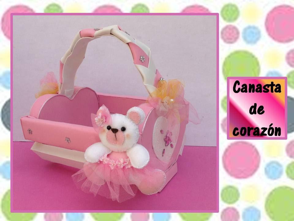 Canasta en forma de corazon manualidades recicladas - Canastas de mimbre decoradas ...