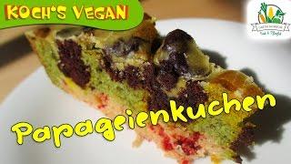 veganer Papageienkuchen - Kuchenteig färben ohne Lebensmittelfarbe - bunter Kuchen - Rainbowcake
