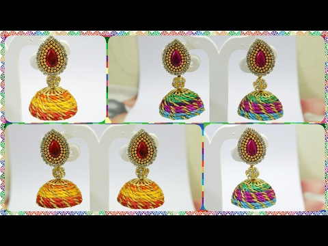 How to make Multicolor Lace Jhumkas in Just 10minutes | Silk Thread Earrings | Silk thread jewellery