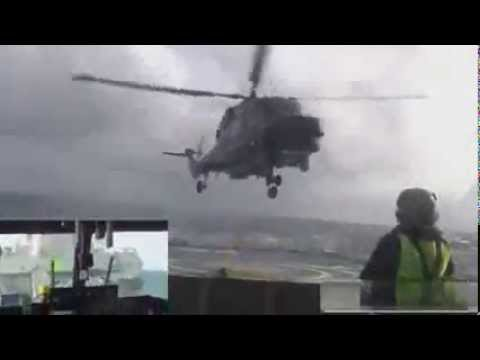 Malaysia Storm Ship Landing Helicopter