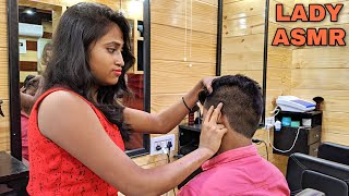 Head massage therapy by Indian lady barber | Indian ASMR