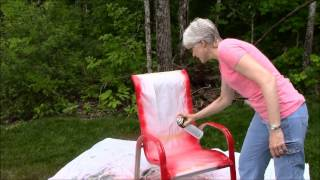 This video is not available. Spray Paint Outdoor Chairs Sunset Red