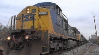 RARE CSX Coal Train Powered By Three Yellow Nose 2 Engines