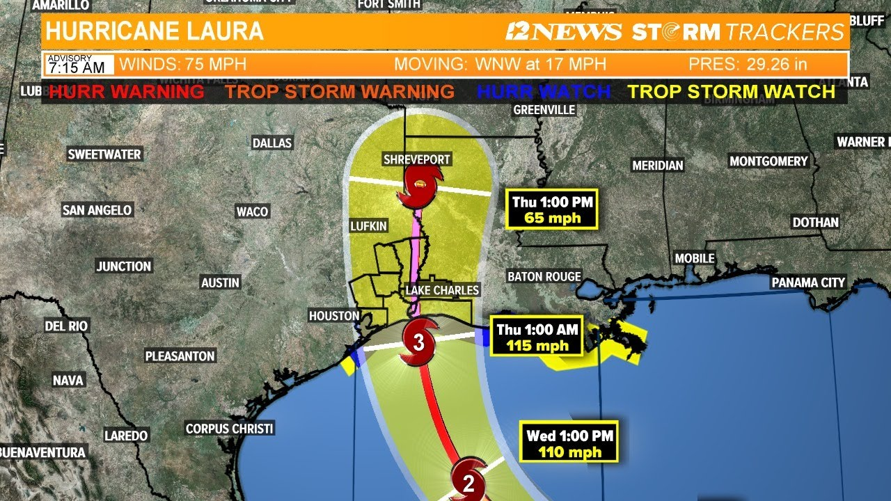 Hurricane Laura Forecast Track Headed For Landfall On Sw Louisiana Coast Tuesday Morning Update Youtube