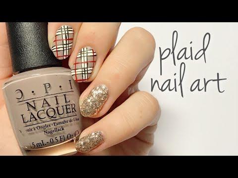 Plaid Nail Art Tutorial | @nailsbyfg | thumbnail