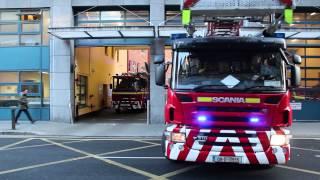 Dublin Fire Brigade / Delta101, Delta102, Delta106, D/O / Turning Out of Tara Street Fire Station