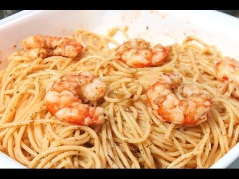 Espaguettis Con Gambas Al Ajillo Receta Facil Y Espectacular Youtube