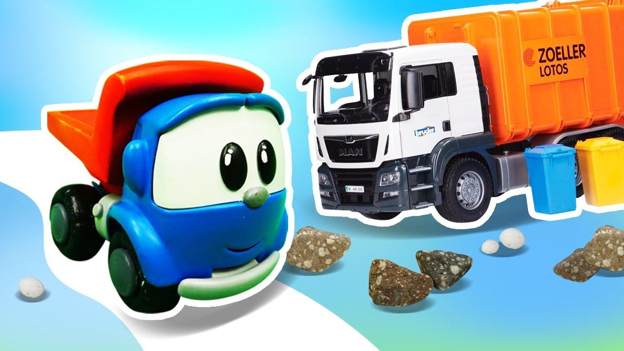 Leo el pequeño camión va a limpiar el bosque y hace un patio de recreo. Vídeo educativo para niños