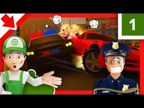 Carro da polícia infantil. Polícia Desenho animado. Polícia em PORTUGUES. Máquina Carro quebrou.