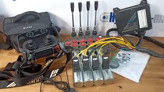 Radio remote JUUKO 24 V HS-20004PE 2 joysticks with valve HM Line 90 l/min 24gpm video