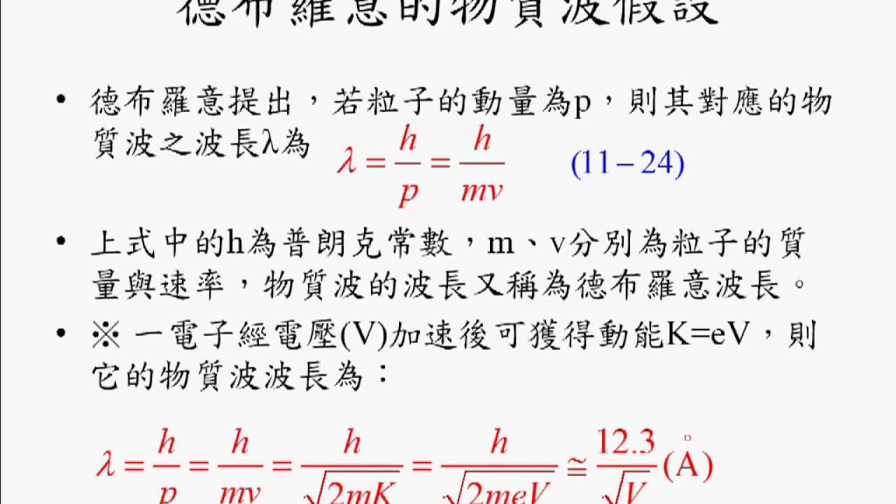 11-3(1)德布羅意的物質波假設 - ...