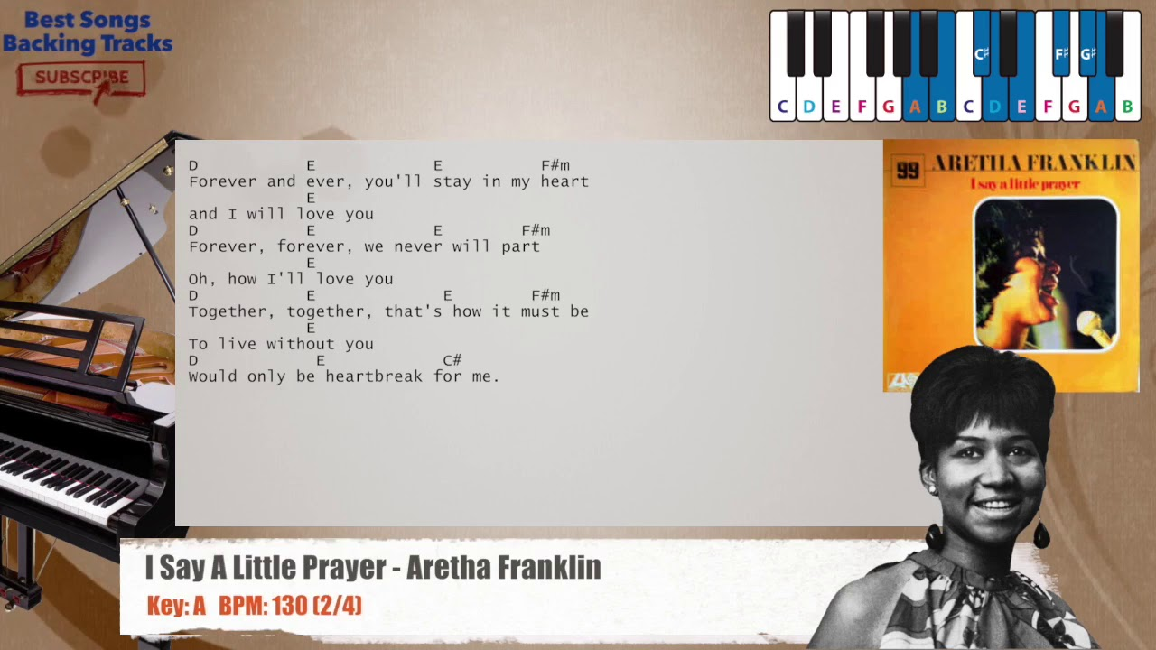 I Say A Little Prayer Aretha Franklin Piano Backing Track With