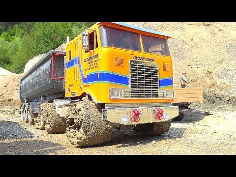 rc-vehicles-in-action!-us-military-truck-6x6!-russian-t-247-trailer!-special-rc-wheel-loader!