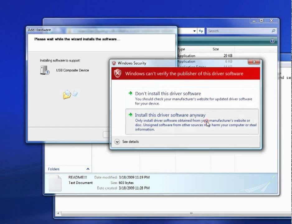 Install LibUSB 64-bit for Windows Vista/ Windows 7
