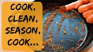 How To Clean And Season Cast Iron Skillet After Cooking & How To Season New Cast Iron Skillet