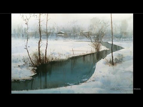 watercolour landscape painting | himalaya village | Ganesh Hire