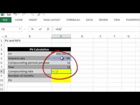 How to calculated Present Value in Excel