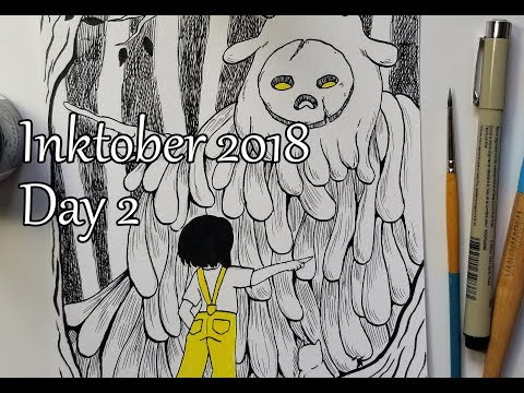 Inktober. Day 2. Daisy And Mr. Pumpkin Met The First Creature