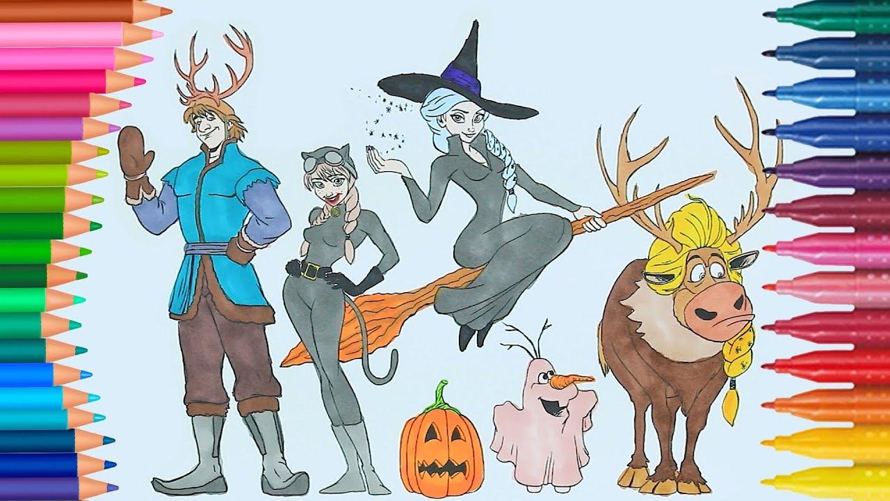 Frozen Königin Elsa Und Prinzessin Anna Trägt Kostüm Für Halloween Halloween Malvorlagen