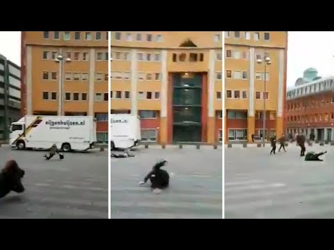 Powerful winds sweep people off their feet in the Netherlands