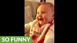 This baby can't stop laughing at her grandma's antics!