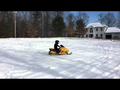 Connor riding his Skidoo Mini Z 120 snowmobile @ 5 yrs old - 1.3.2016