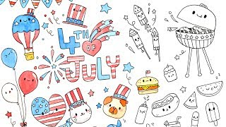 Kawaii 4th Of July Doodles – Cute & Fun Doodle Ideas !