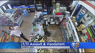 Wild Savage Trashes Santa Ana 7-Eleven Store When They Wouldn't Sell Him Beer