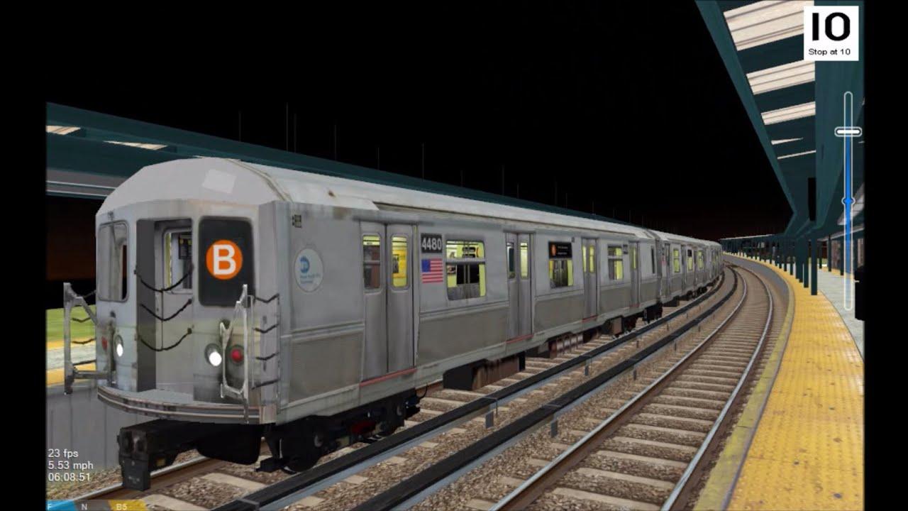 OpenBVE HD: NYC Subway R40M B Train w/ New SMEE Trucks Operating on the BMT Brighton Line - YouTube