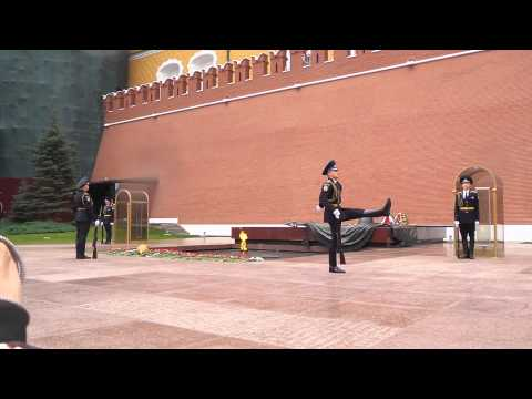 Guard changing at Moscow Kremlin, Red Square.