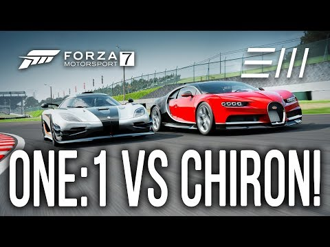 Forza 7 - *NEW* Bugatti CHIRON vs Koenigsegg ONE:1 (Speedway/Drag/Circuit) CHALLENGE!