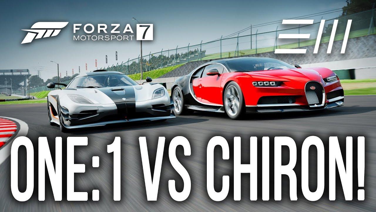 New 2018 Bugatti Chiron Vs Koenigsegg One 1 Drag Race Forza 7 Youtube