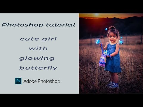 Cute girl with glowing butterfy || photoshop tutorial || thumbnail