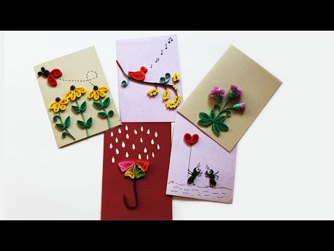 5 Easy Paper Quilling cards | Quilling designs for beginners | Quilling Cards