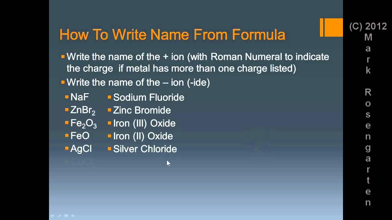 Chem Tutorial Formula Writing And Naming