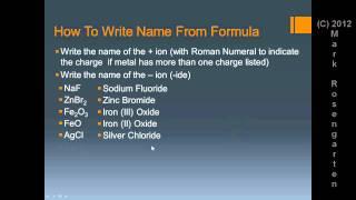 Chem Tutorial:  Formula Writing and Naming