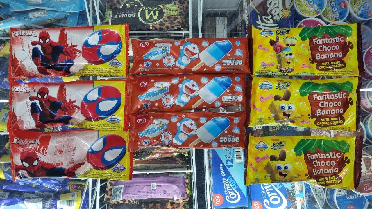Download Pilih Es Krim Karakter Spiderman,Spongebob,Doraemon DiIndomaret Rajen Arumi Brothers