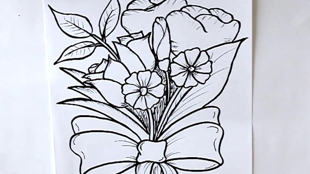 Como Dibujar Un Ramo De Flores Dibuja Conmigo Dibujos De Flores